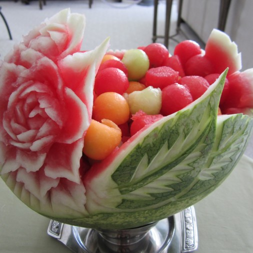carved fruit basket