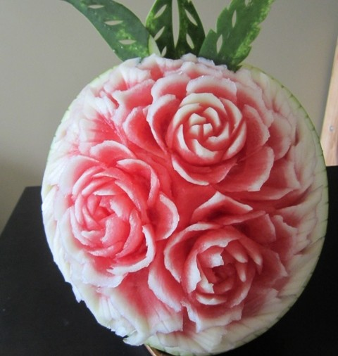 Watermelon carving flowers images