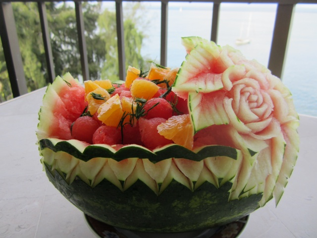Carved watermelon basket thai creations