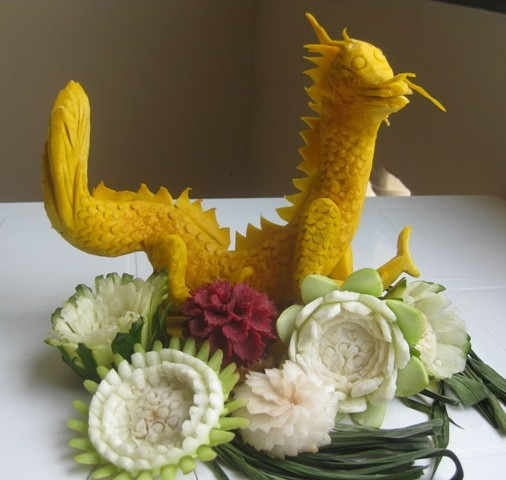 Dragon fruit carving thai creations