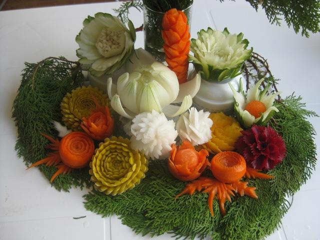 Vegetable flower carvings thai creations