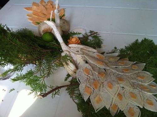 Taro Peacock Carving After