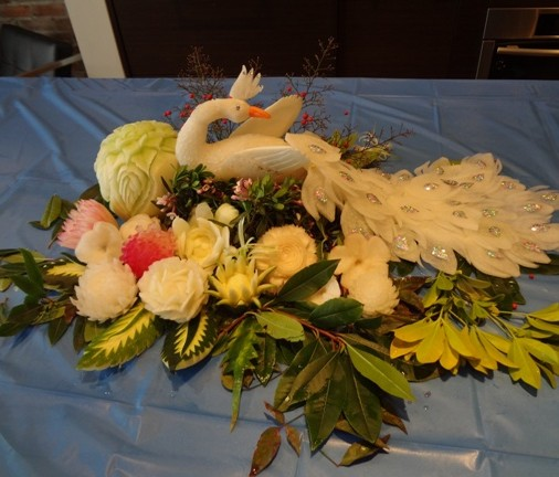 peacock carving arrangement