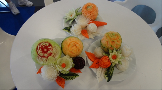 Student Fruit and Vegetable Carvings