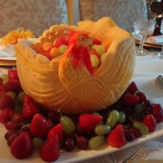 Turkey Pumpkin Fruit Carving