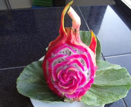 Dragon Fruit Rose Carving