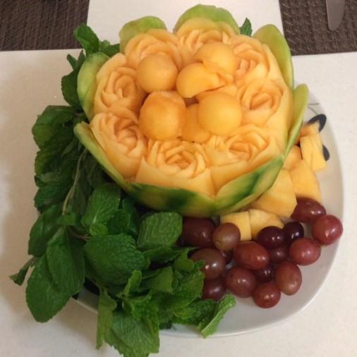Cantaloupe Rose Basket