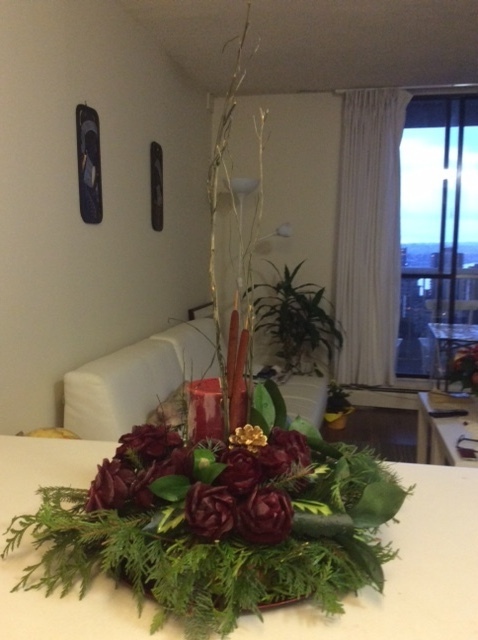 Centrepiece Christmas Carving with Beet Roses and Watermelon Leaves