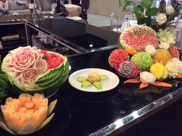 Thai fruit and vegetable carving display