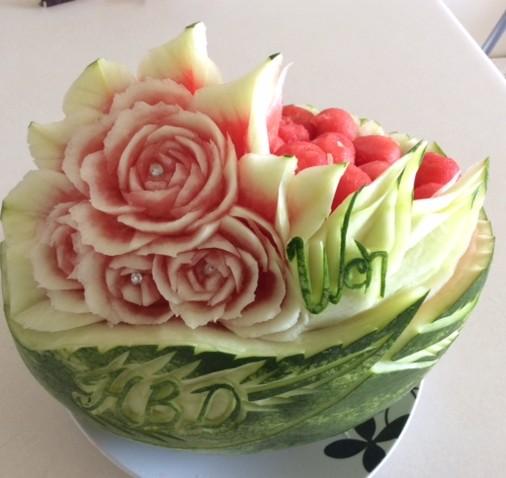 Wen Birthday Watermelon Basket Carving