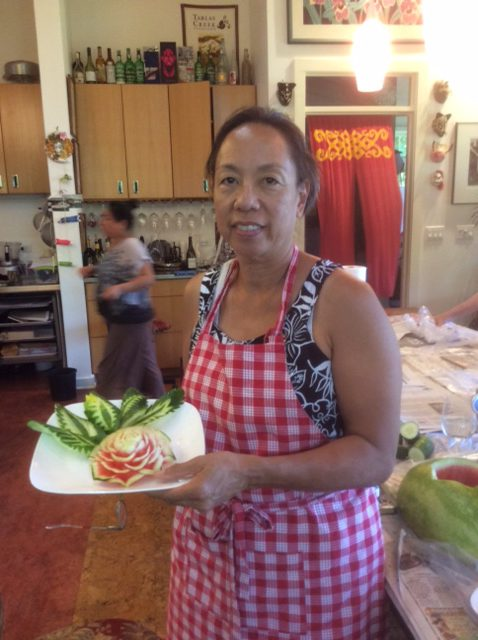 Student with First Thai Watermelon Carving