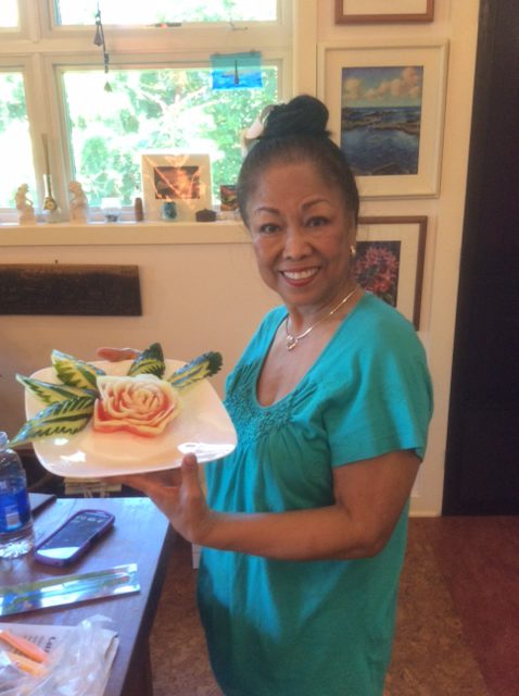 Student with her First Thai Fruit Carving