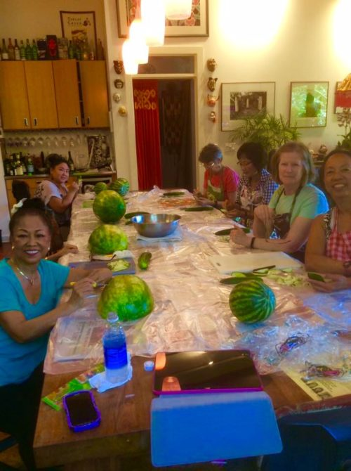 The Ladies Trying Their First Fruit Carving Class