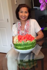 Sam with Watermelon Reunion Fruit Carving